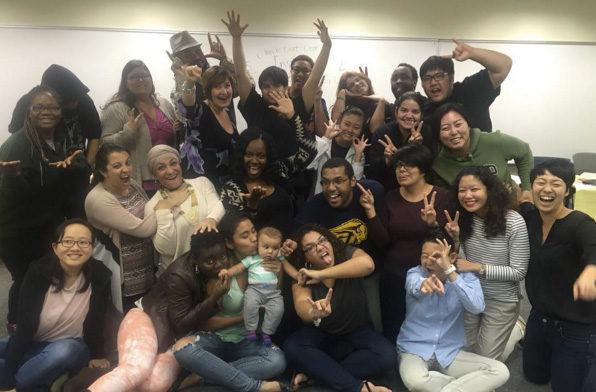 ギャロデット大学でアルバイトをしていたダイバーシティ学生支援室主催のリーダーシップ研修会での一コマ(右端が川俣さん。2015年秋撮影)